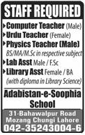 Computer Teachers, Urdu Teachers, Physics Teachers Wanted