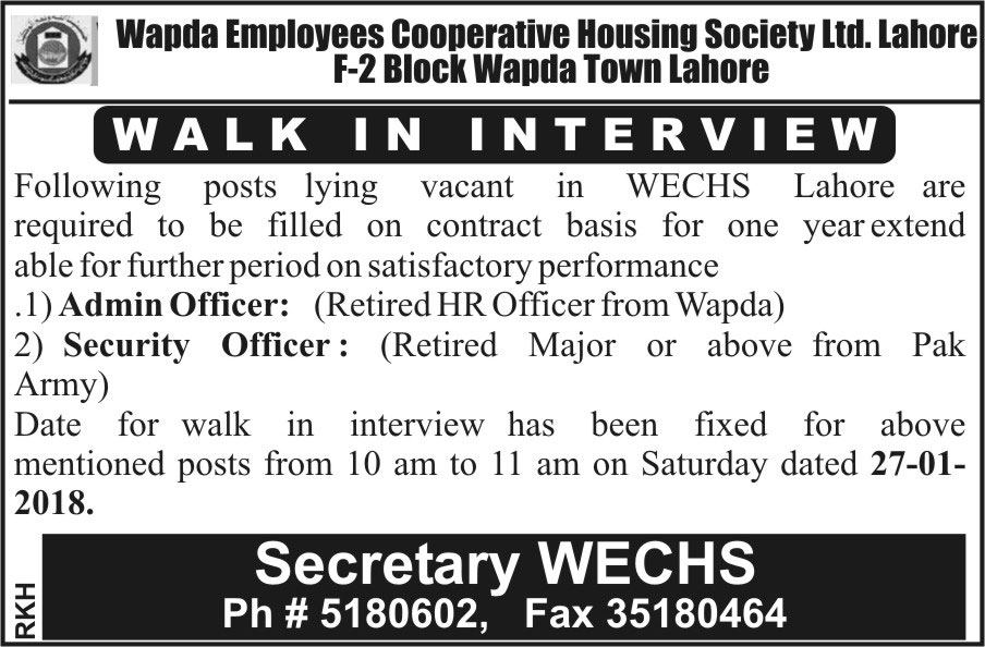 Admin Officer Jobs 2018 in WECHS Lahore