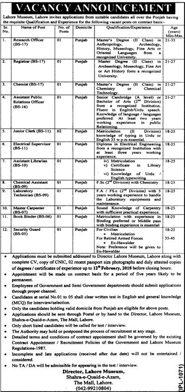 Research Officers, Registrar Job in   Lahore Museum