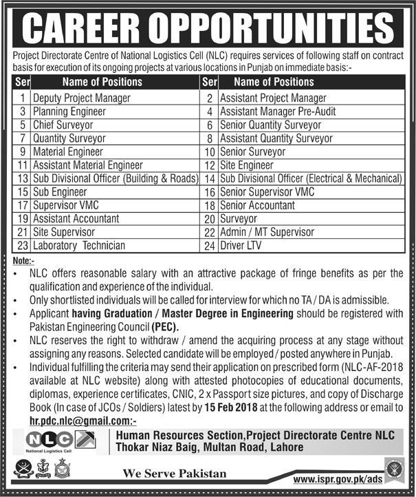 National Logistics Cell NLC Jobs 2018 for Planning Engineer