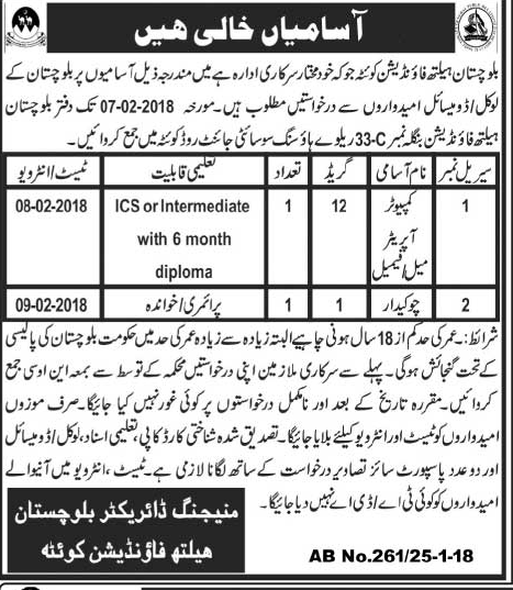 Balochistan Health Foundation  Jobs