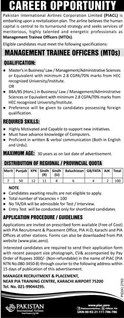 Pakistan International Airlines corporation PIA Jobs