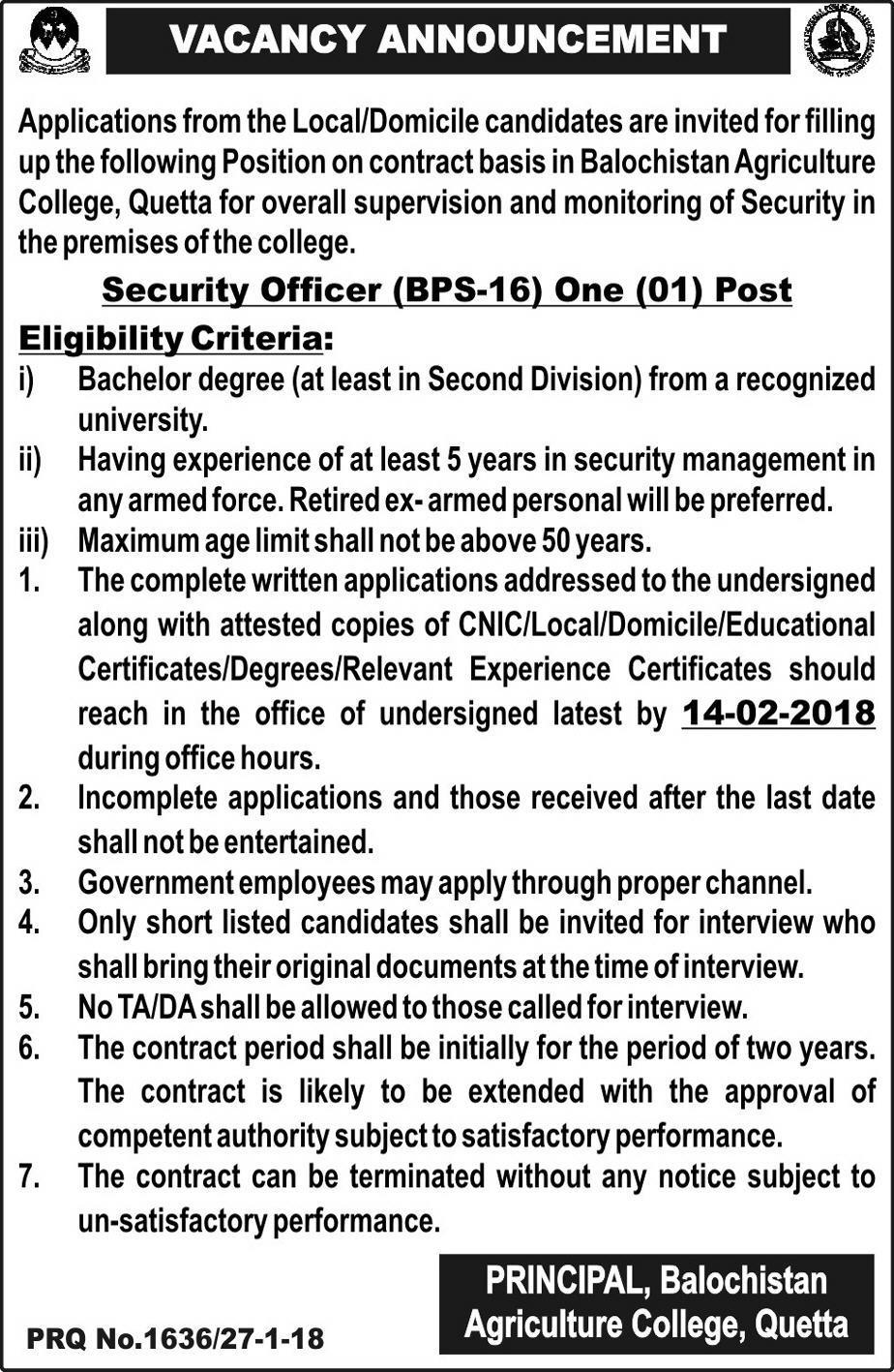 Balochistan Agriculture College Queta Jobs
