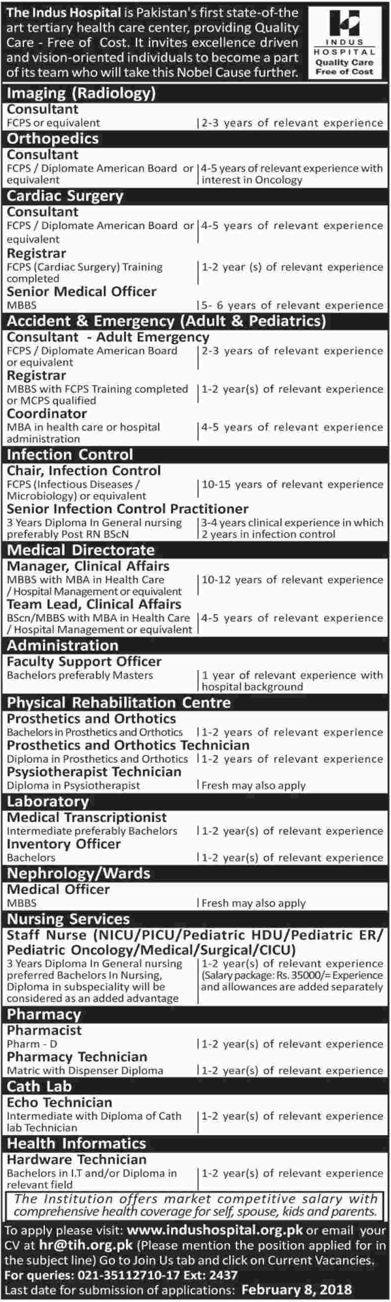 Indus Hospital IHN Jobs 2018 for Consultant & Doctor