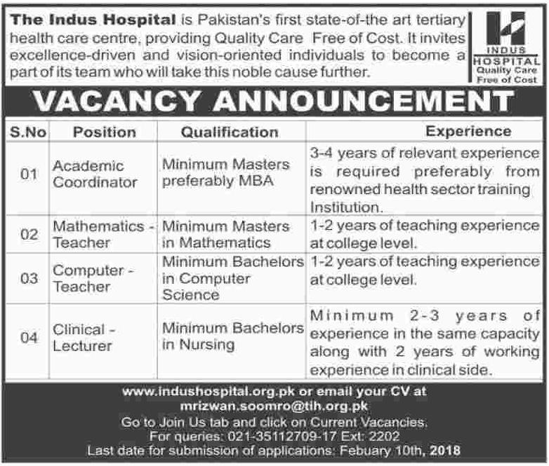 Academic Coordinator Jobs in Indus Hospital IHN 2018 Jobs Pakistan