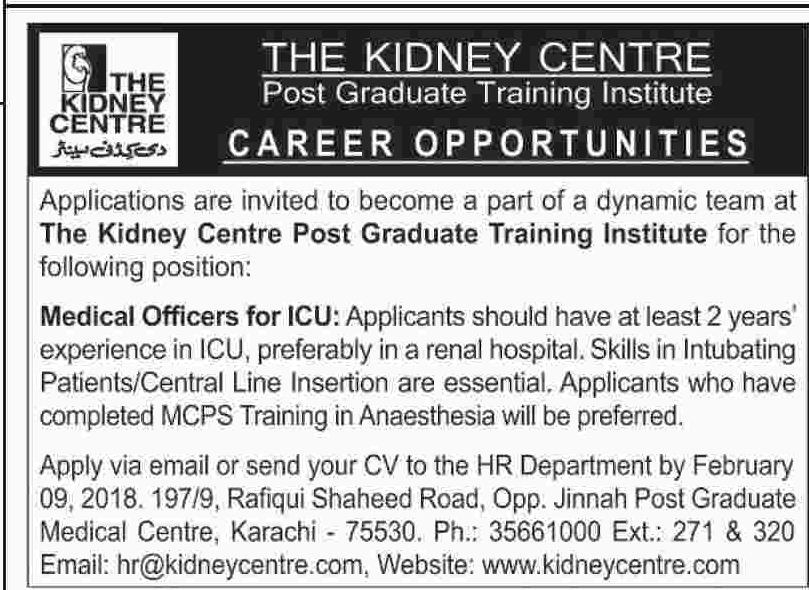 Kidney Centre Jobs 2018 for Medical Officer