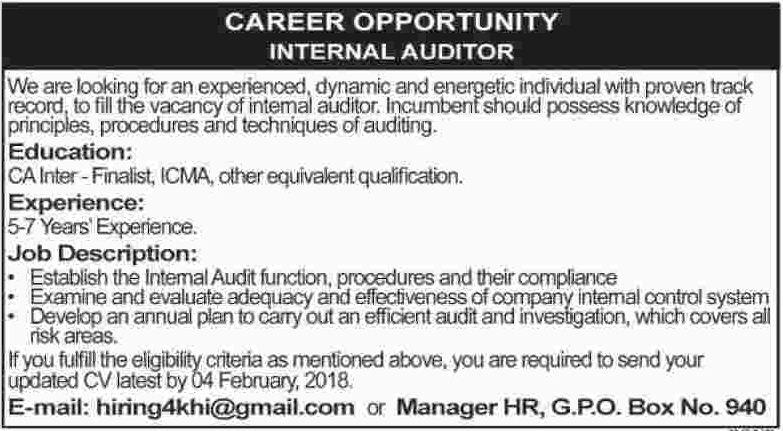 Internal Auditor required in Karachi