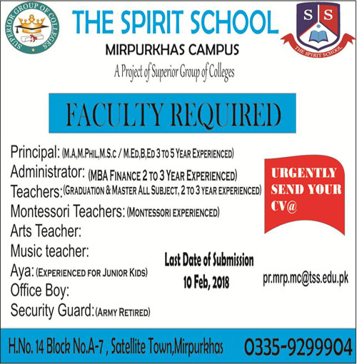 The Spirit School Faculty Required For Mirpurkhas Campus