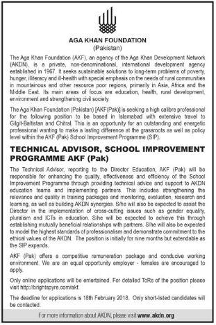 Aga Khan Foundation AKF Jobs 2018 for Technical Advisor
