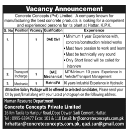 Concrete Concepts Pvt Limited Jobs