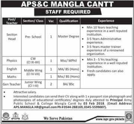 APS Army Public School & College Jobs for Teacher