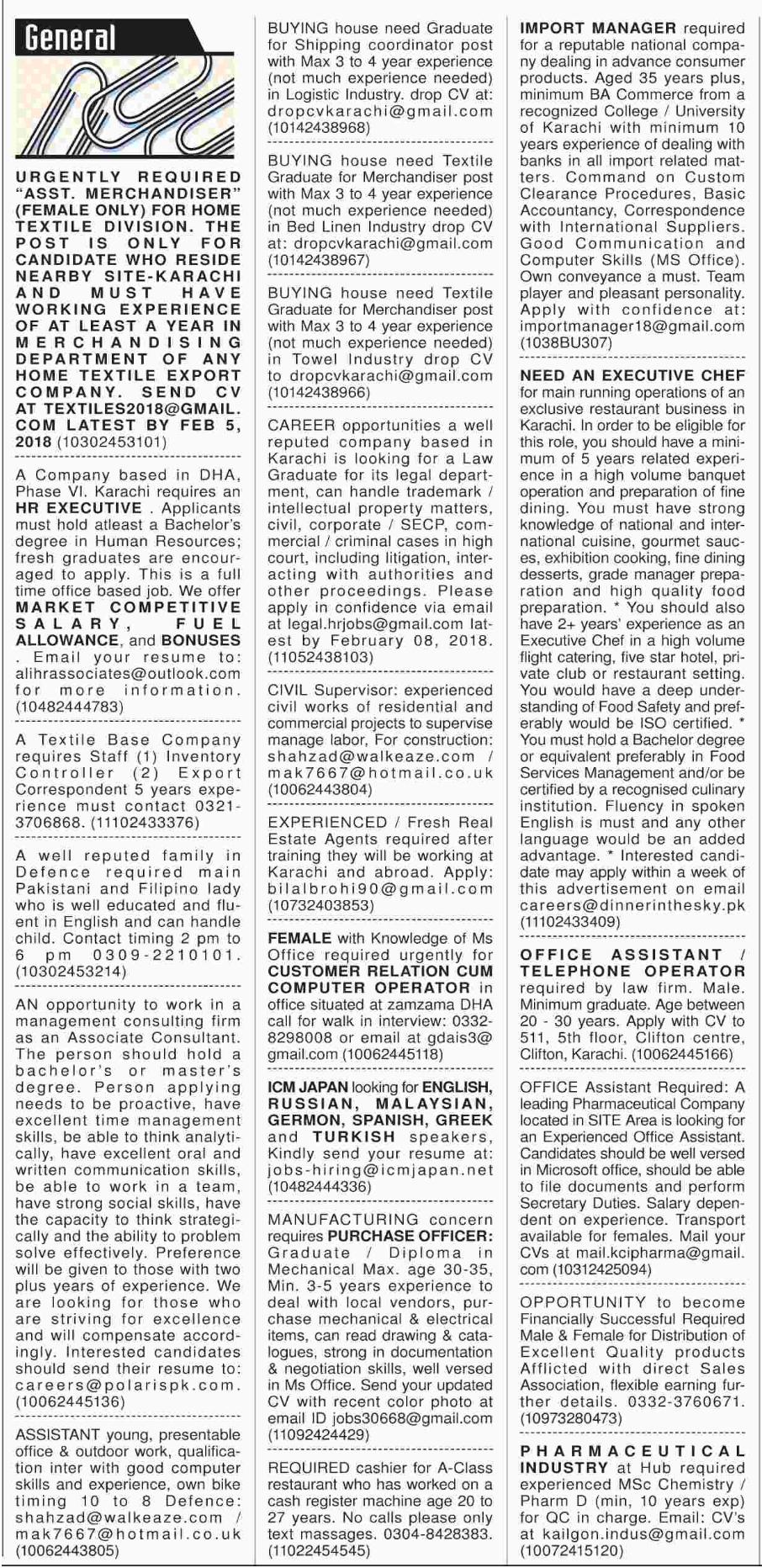 General Staff Required For Karachi Sindh 2018