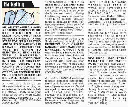 Marketing Career Opportunities 2018 in Karachi