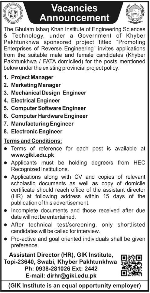 Ghulam Ishaq Khan Institute of Engineering science Jobs