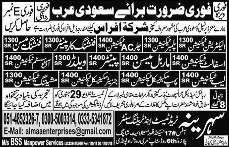 Electrician Technicians, Chiller AC Technicians Wanted