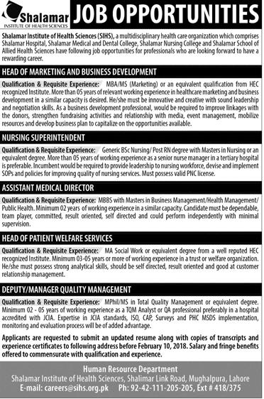 Shalamar Institute of Health Sciences Jobs