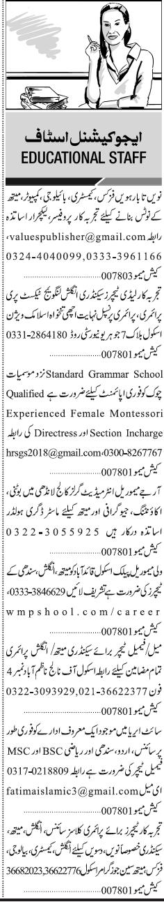 Educational Staff Jobs In Karachi 2018