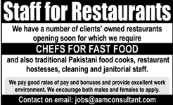 Chefs For Fast Foods Job Opportunity