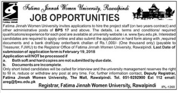 Fatima Jinnah Women University FJWU Jobs for Admin Staff