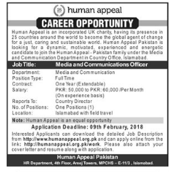 Human Appeal Pakistan Jobs for Media & Communication Officer
