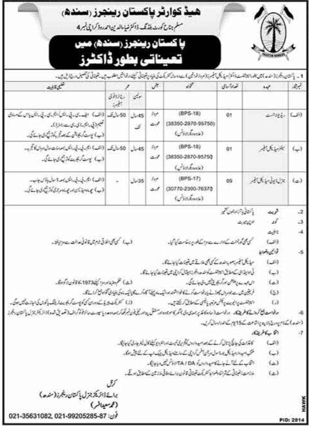 Pakistan Rangers Jobs 2018 For Doctor