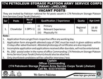 174 Petroleum Storage Platoon Army Services Corps Jobs 2018