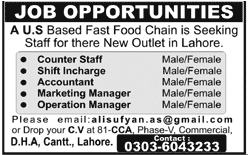 Counter Staff, Shift Incharge, Accountant Job Opportunity