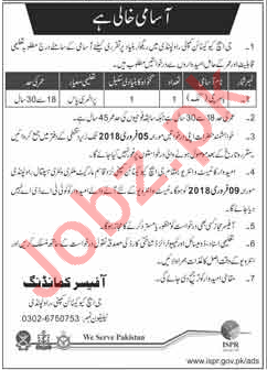 Pakistan Army GHQ Canion Company Required Cook