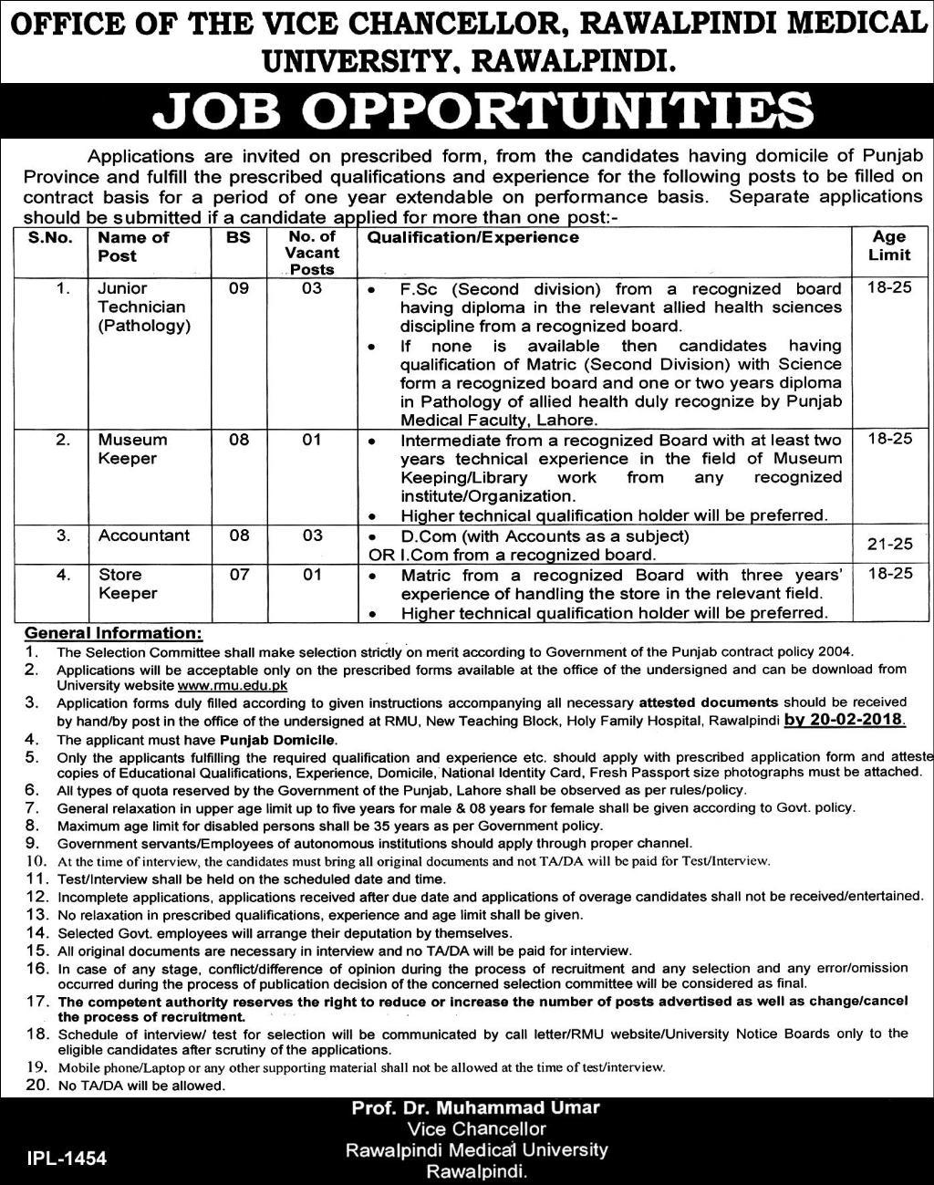 Rawalpindi Medical University Rawalpindi Rmu Jobs 2020 Job