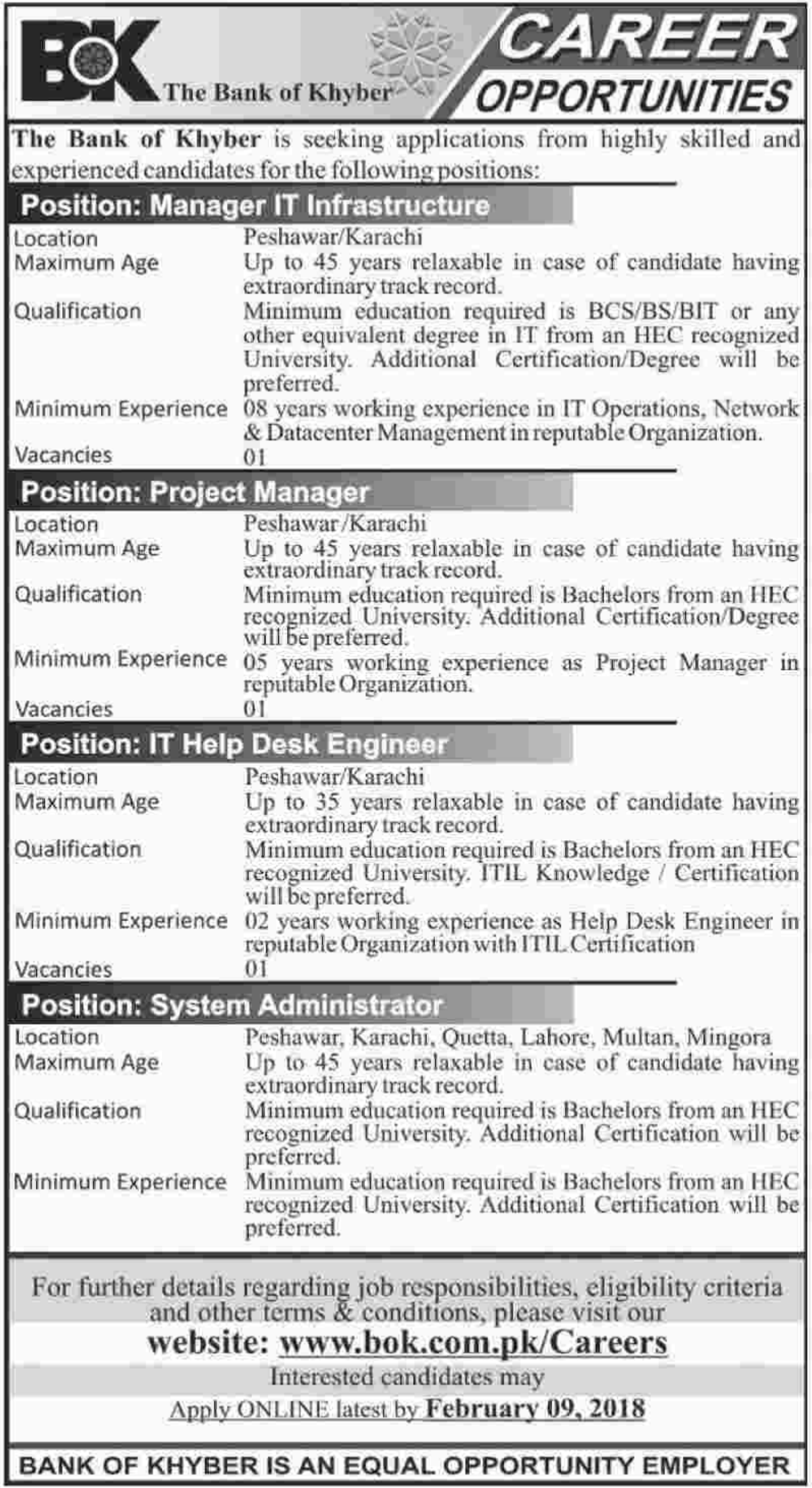 Bank Of Khyber BOK Jobs For Manager IT Infrastructure