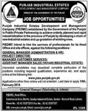 PIEDMC Punjab Industrial Estates Jobs for Project Director