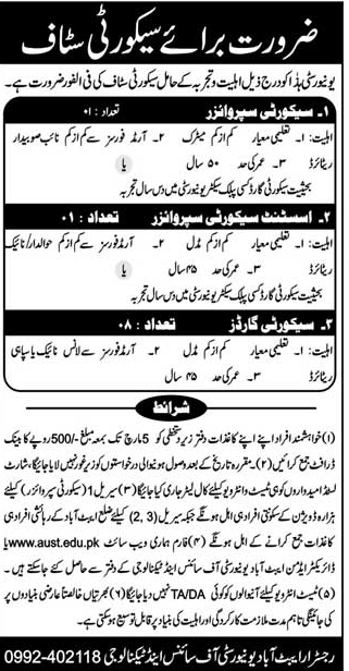 Abbottabad University of Science and Technology AUST Jobs