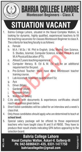 Bahria College Lahore Female Teacher Jobs 2018