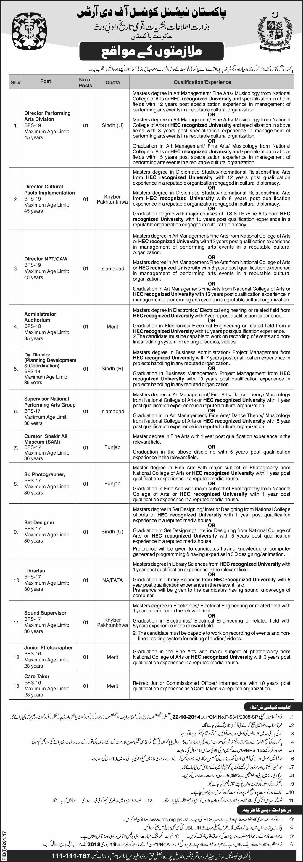 Pakistan National Council of the Arts Jobs