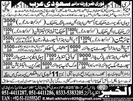 Heavy Equipment Mechanics, Tyremen Job Opportunity