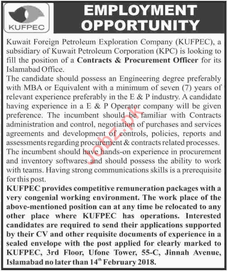 Kuwait Foreign Petroleum Exploration Company KUFPEC Jobs