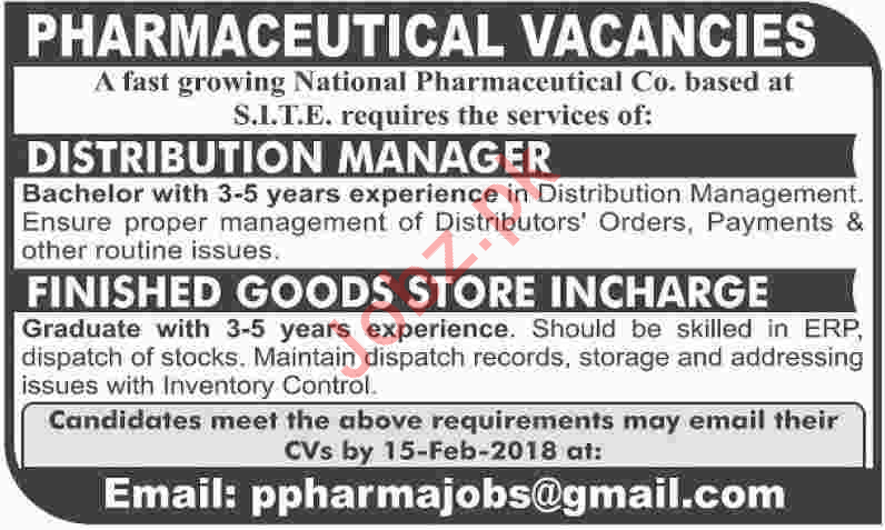 National Pharmaceutical Co Jobs in Distribution Manager 2019 Job