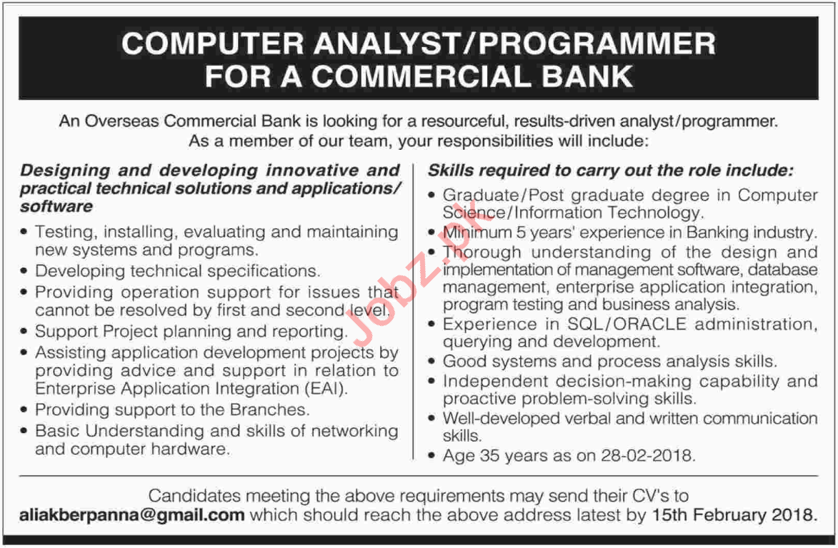Systems Analyst Job Advertisements: Commercial Bank Jobs 2018 Computer Analyst Programmer 2019