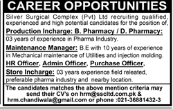 Production Incharge, Maintenance Manager Wanted