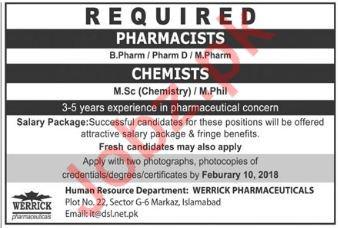Pharmacist & Chemist Jobs in Werrick Pharmaceuticals