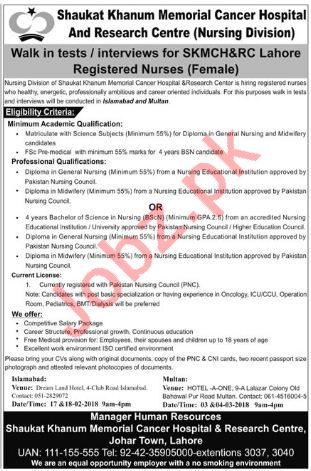 Shaukat Khanum Memorial Cancer Hospital Jobs for Nurse