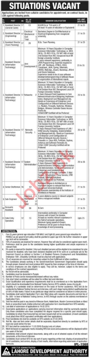 Lahore Development Authority LDA Jobs For Assistant Director