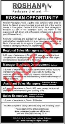 Roshan packages Limited Required Regional Manager
