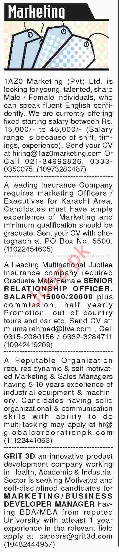 Marketing Job Opportunity 2018 in Karachi