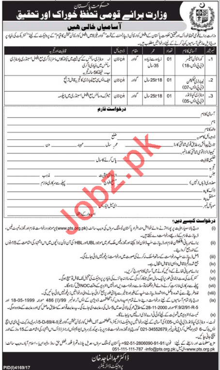 Ministry of National Food Security & Research Jobs 2018