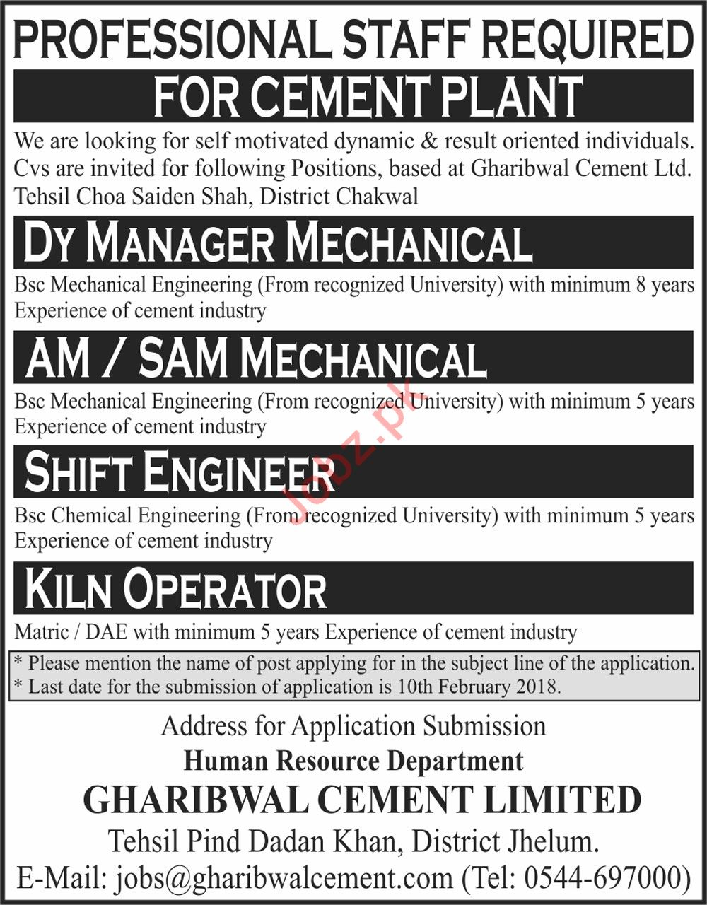 Gharibwal Cement Limited Jhelum Jobs For Shift Engineer