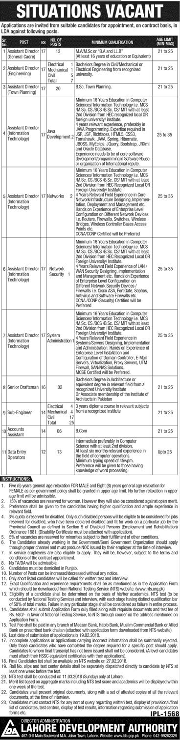 Lahore Development Authority LDA Jobs