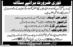 Telephone Operators, Drivers, Security Guards Wanted