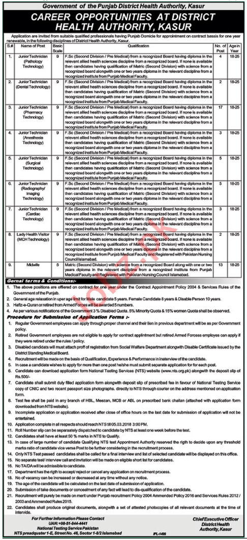 District Health Authority Kasur Jobs for Junior Technician