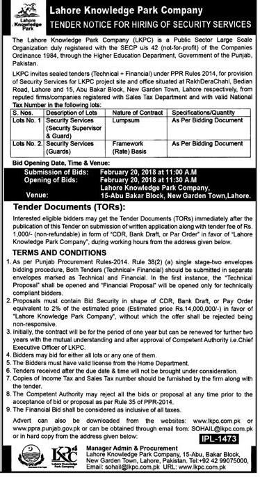 Lahore Knowledge Park Company LKPC Jobs
